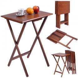 Set of 4 Portable Wood TV Table Folding Tray Desk Serving Furniture Walnut New