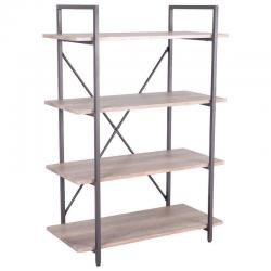 4 Tiers Bookcase Metal and Wood Storage Shelf Display Organizer Home Furniture