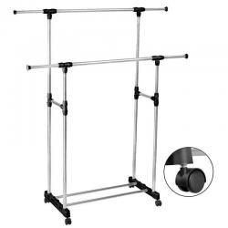 HEAVY DUTY-Double Adjustable Portable Clothes Rack Hanger Extendable Rolling