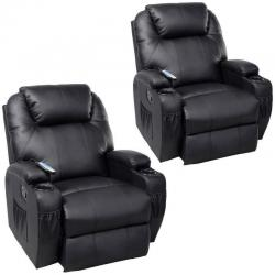 2 PC Massage Recliner Sofa Chair Deluxe Ergonomic Lounge Heated w/ Control Black
