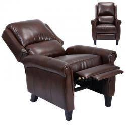 Leather Recliner Accent Chair Push Back Living Room Home Furniture w/ Leg Rests
