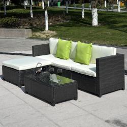 5PC Patio Rattan Wicker Sofa Set Cushioned Furniture Garden Steel Frame Black