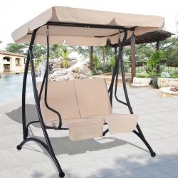 Beige 2 Person Canopy Swing Chair Patio Hammock Seat Cushioned Furniture Steel