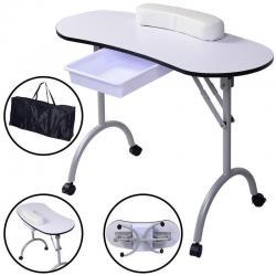 New Portable Manicure Nail Table Station Desk Spa Beauty Salon Equipment White
