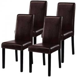 Set of 4 Elegant Design Leather Contemporary Dining Chairs Home Room