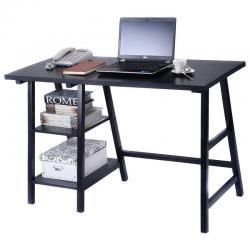Modern Trestle Desk Wood Laptop Writing Table Shelves Computer Desk Black