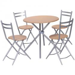 5 PCS Folding Round Table Chairs Set Furniture Kitchen Living Room New