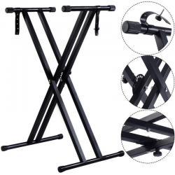 Adjustable Music Keyboard Electric Piano X-Stand Metal Dual Tube Standard Rack