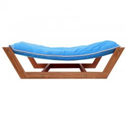 Rectangle Pet Hammock Lounge Bed Dog Nap Mat Sleeping Pad Cushion Bamboo Blue