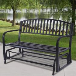 Outdoor Patio Leisure Swing Rocker Glider Bench Loveseat Garden Seat Steel New