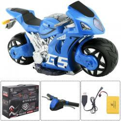1/8 Scale 2.4G 4D R/C Simulation Remote Control Drift Motorcycle Kids Toys Blue