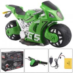 1/8 Scale 2.4G 4D R/C Simulation Remote Control Drift Motorcycle Kids Toys Green