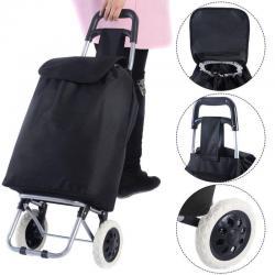 Black Large Capacity Light Weight Wheeled Shopping Trolley Push Cart Bag New