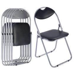 6 PCS U Shape Folding Chairs Furniture Home Outdoor Picnic Portable Black