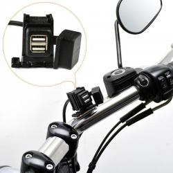 Motorcycle Mobile Phone GPS 12V 2.1A Dual USB Power Supply Port Socket Charger