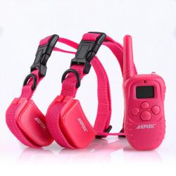 2PCS 100LV Rechargeable Shock Vibra Pink Dog Training Collar 1 Remote 10-130lb