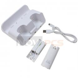 White Dual Charge Station for Nintendo Wii U Remote Controller Wiimote w/Battery
