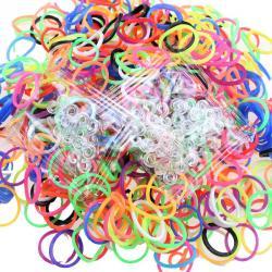 600PC DIY Colorful Rainbow Rubber Loom Bands Bracelet Making Kit Set+24 S-Clips