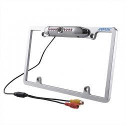 Waterproof Night Vision License Plate Frame Car Rear View Backup Camera Silver