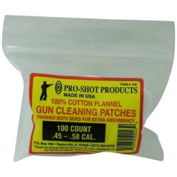 Pro-Shot 100% Cotton Flannel .38-.45 Cal and 20-410 Gauge 100 Count Patches