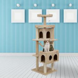 "New 65"" PawHut Cat Tree Scratcher Hammock Condo Perches Post Tower House"