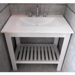 Si buscas Vanitory Laqueado Deck Blanco + Bacha Marmolina Maral 80 Cm puedes comprarlo con MATERIALESGUTI está en venta al mejor precio
