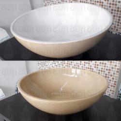 Si buscas Bacha De Apoyo Apoyar De Losa Para Baño Beige Blanco puedes comprarlo con QUIBAM_YBH está en venta al mejor precio