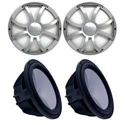 Two Wet Sounds Revo 10 Subwoofers & Grills - Black Subwoofe