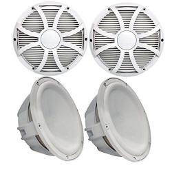 Two Wet Sounds Revo 10 Subwoofers & Grills - White Subwoofe