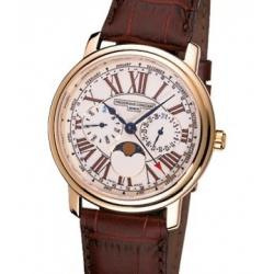 Frederique Constant Multi-function White Dial Brown Leather