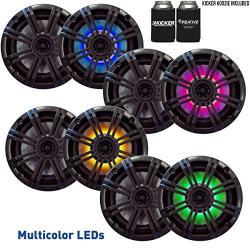Kicker 6.5 Charcoal Led Marine Speakers (qty 8) 4 Pairs Of