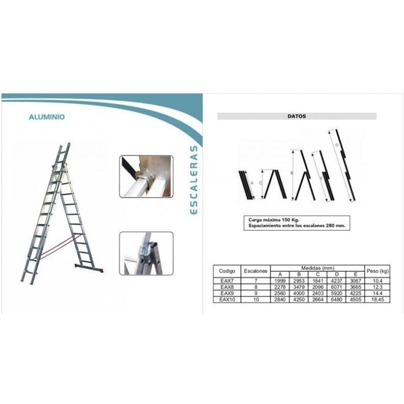 Si buscas Escalera Coliza Pintor 3 Funciones 6.74mt Aluminio puedes comprarlo con FERRETERIAFERRESERVI está en venta al mejor precio