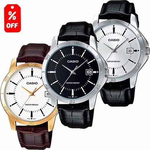9c0cec24a233 Reloj Casio Caballero Mtpv004 Piel - Cristal Mineral - Cfmx en ...