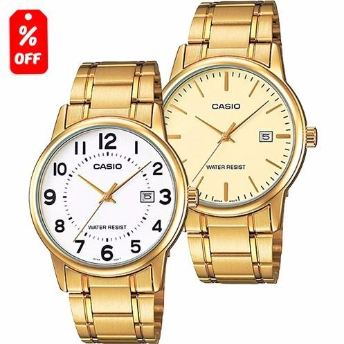 Reloj Casio Mtpv002 Dorado Fechador Acero Cfmx
