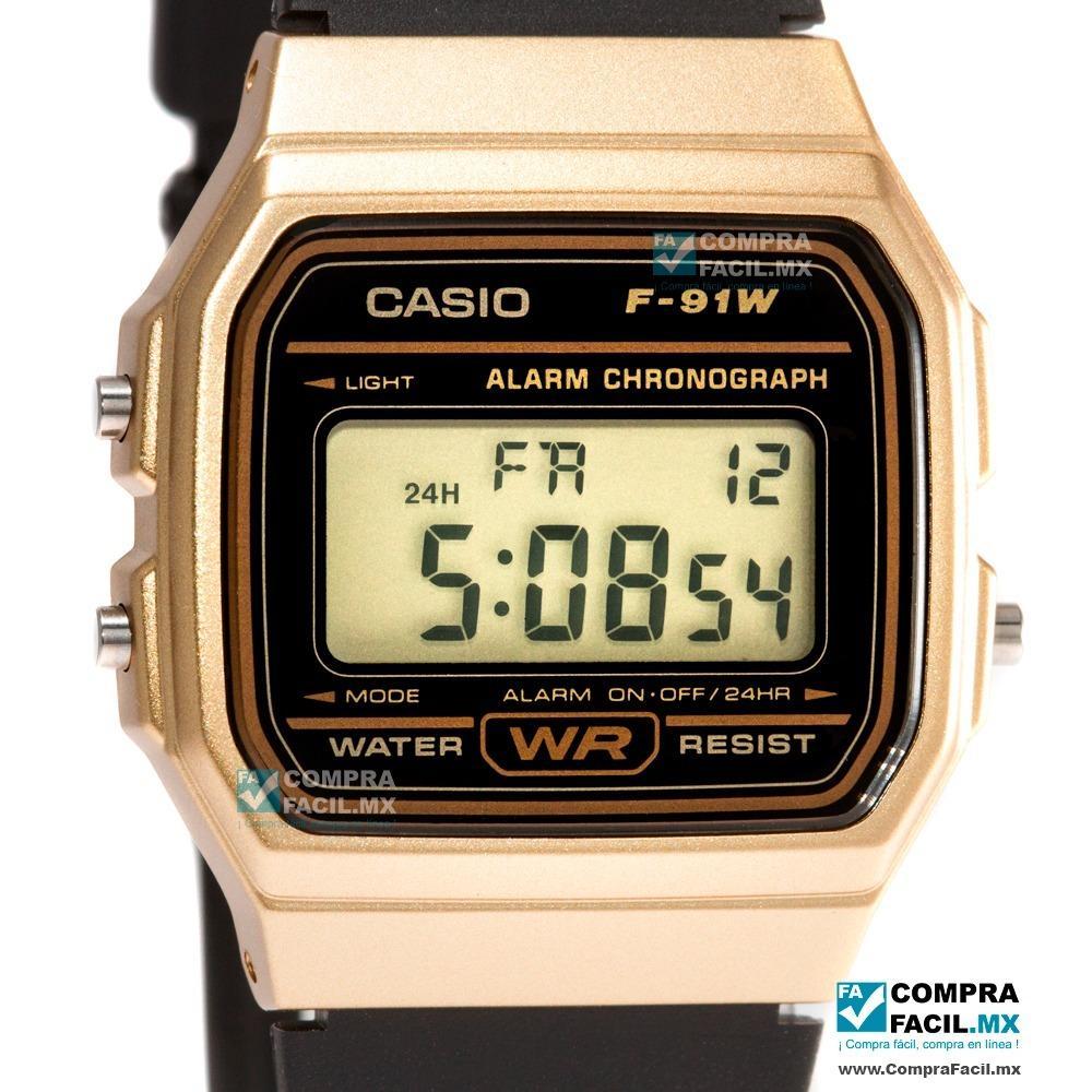 dc89a6af3e78 Reloj Casio Retro F91 Negro Y Dorado - Estilo Clásico - en Gustavo A ...