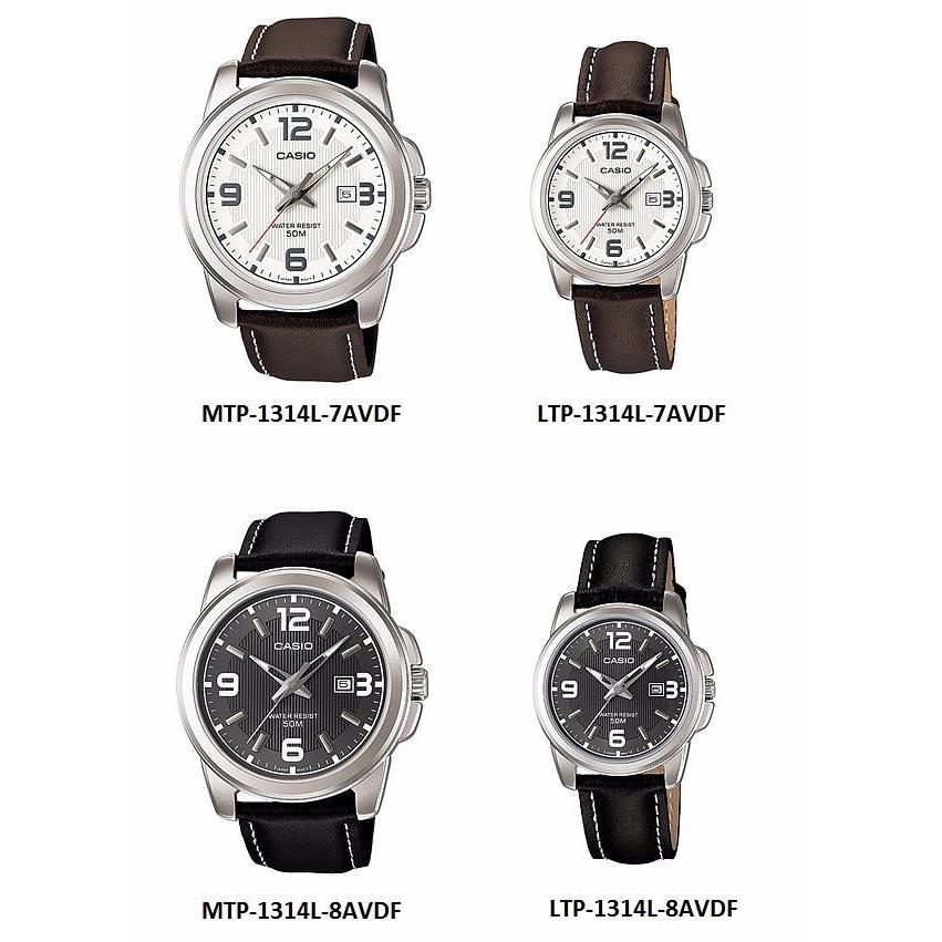 Casio Piel Cfmx Mtp1314 Caballero Fechador Pareja Reloj In P0nOw8k