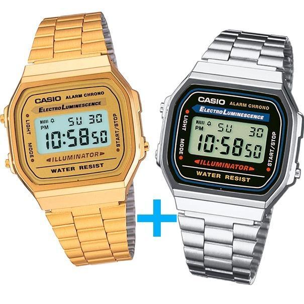 9b4ed987af7b Reloj Casio A168 Dorado Y Casio A168 Plata - Oferta Especial en ...