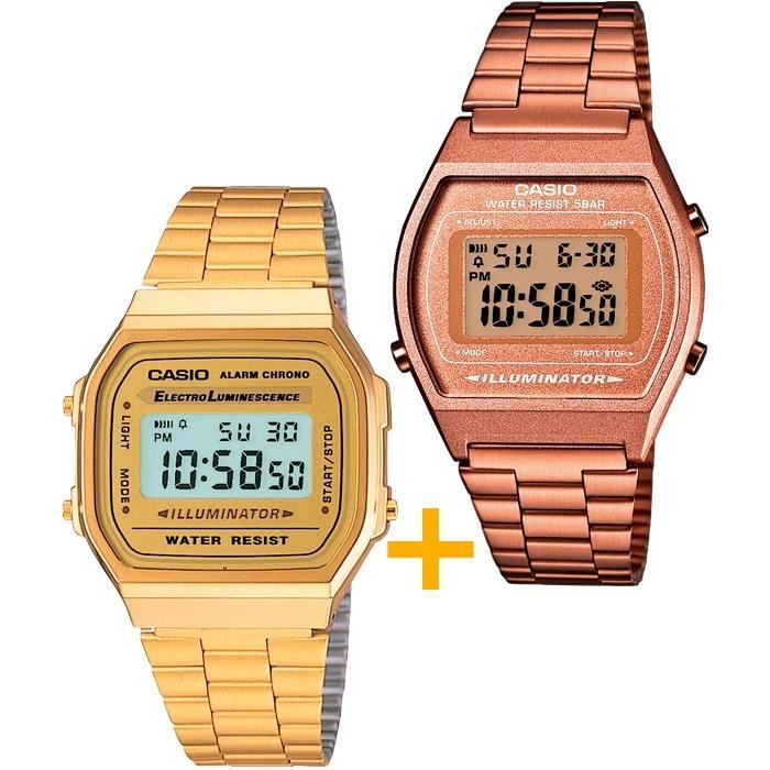 Reloj Casio A168 Dorado Y B640 Rosa- Pareja Oferta Especial en ... 80ccb1bdc3c0
