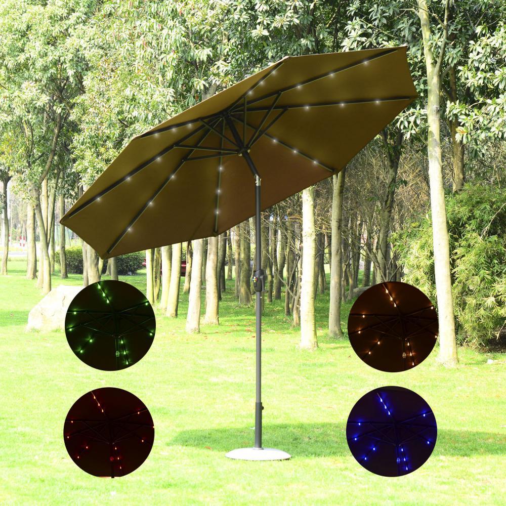 9 Patio Umbrella Solar Multi-color LED Garden Market Parasol Crank ...