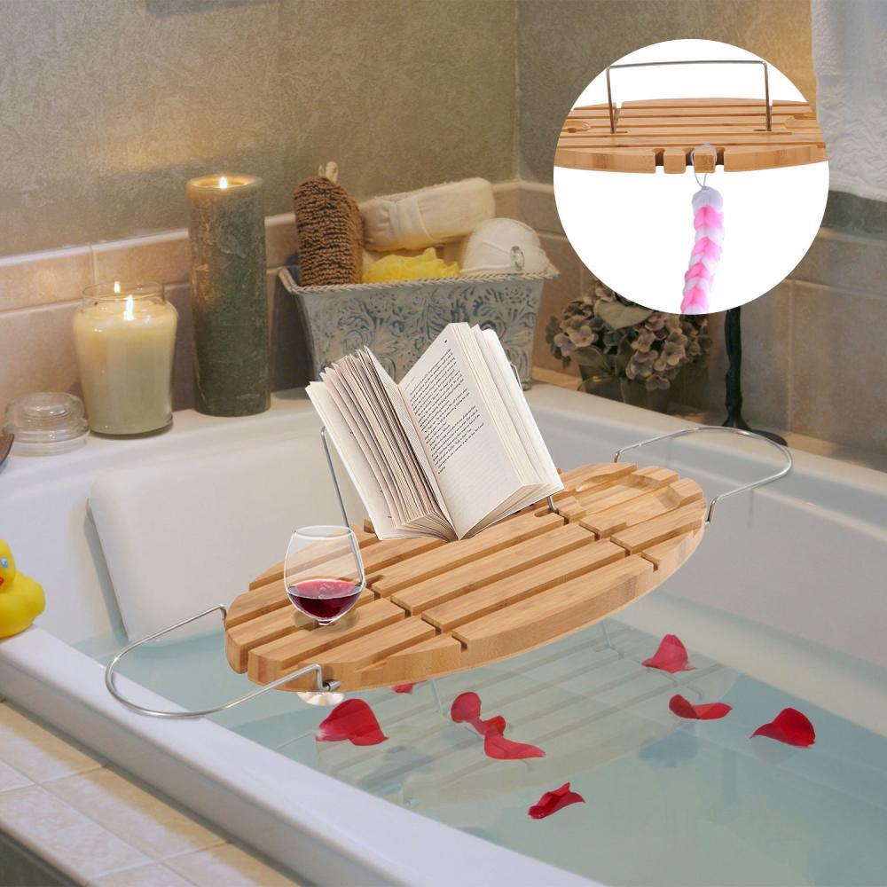 Bamboo Caddy Shelf Bathtub Rack Adjustable Book Tray Shower Tub ...