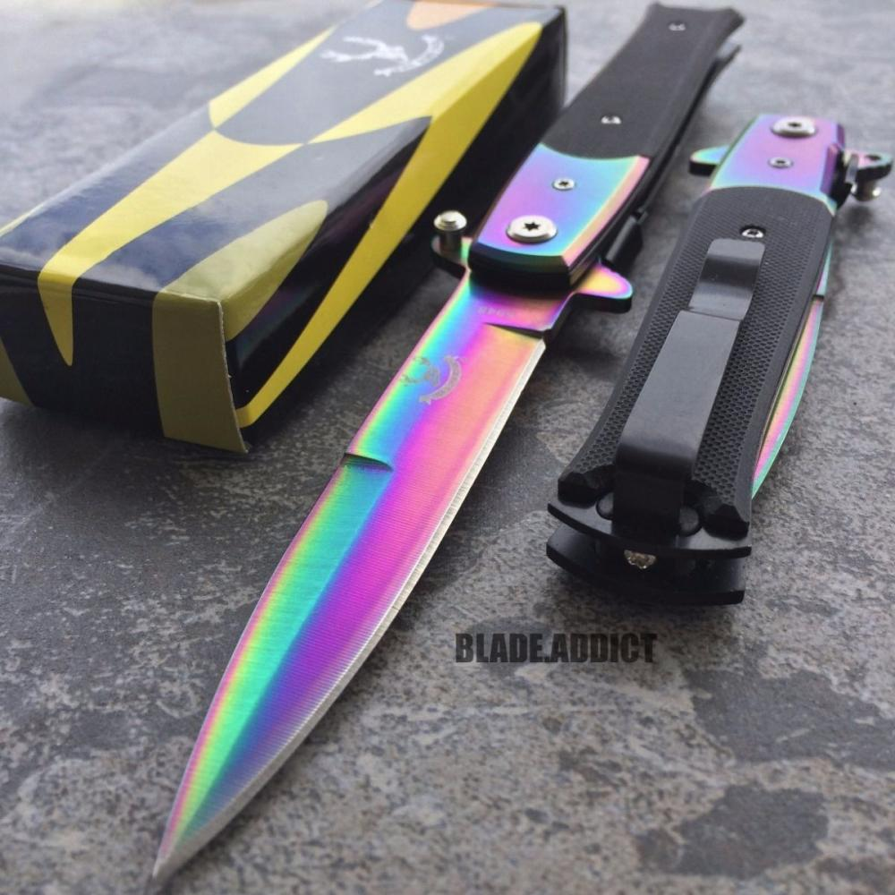 "If you are looking 8.5"" G10 Spring Open Assisted RAINBOW Stiletto TACTICAL Folding Pocket Knife you can buy to blade_addict, It is on sale at the best price"
