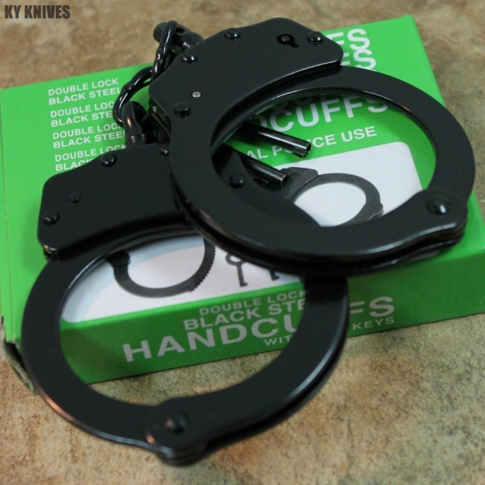 If you are looking Professional Double Lock Black Chained Police Handcuffs w/Keys Real 15912 you can buy to kyknives, It is on sale at the best price