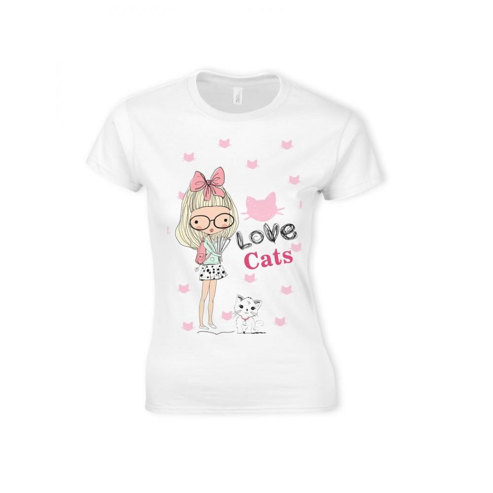 3030b6fc43d68 Playera Estampada Love Cats Girl Gato T05 Env Gratis Mayoreo en León ...